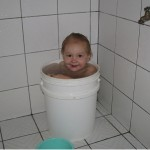 After a long, hot, dusty day Josiah definitely needed a bucket bath!