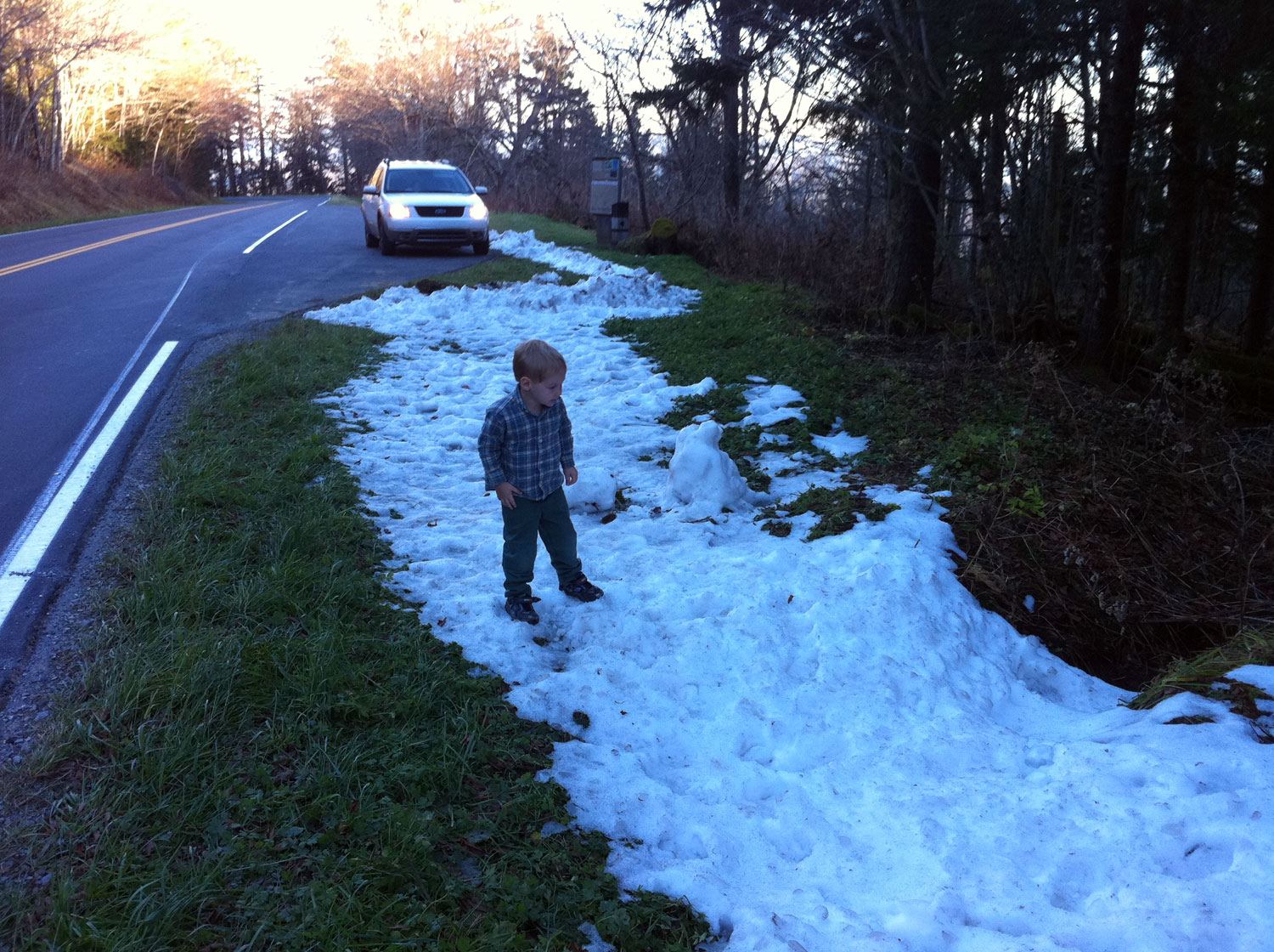 First snow of the season for the kids - high (>6000ft) on Clingman's Dome