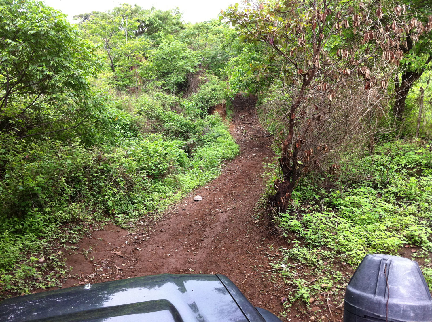 One of the steeper sections of road on our way to the community