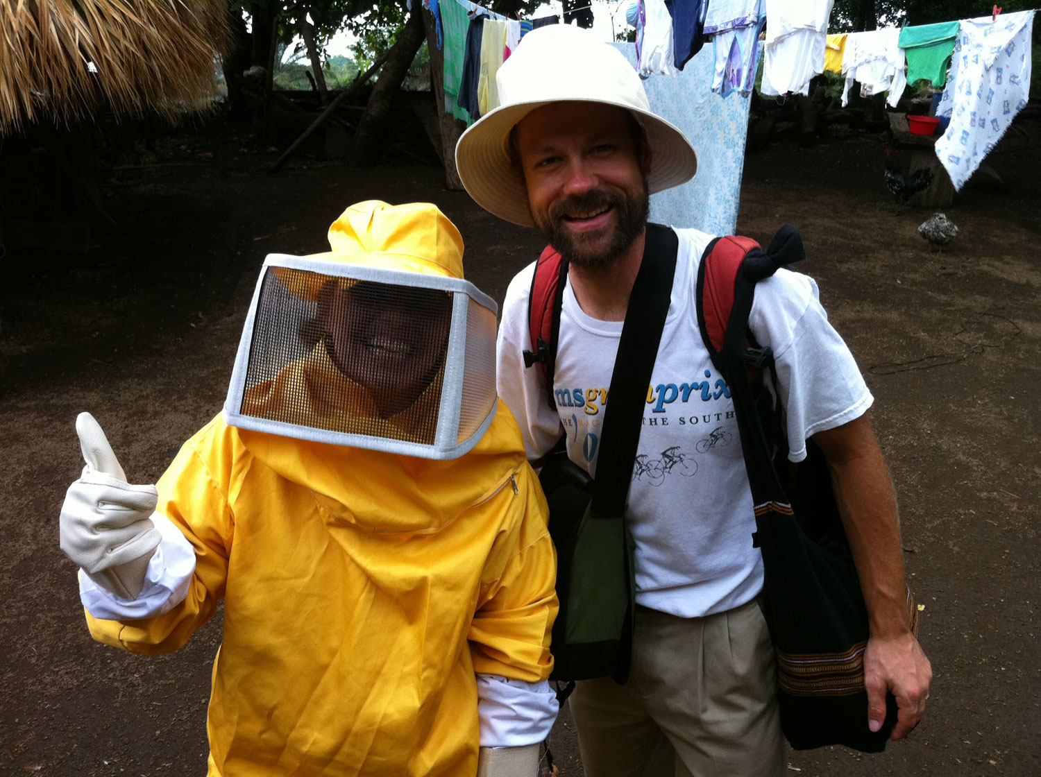 Kristine and I before beekeeping as I prepare for photographing