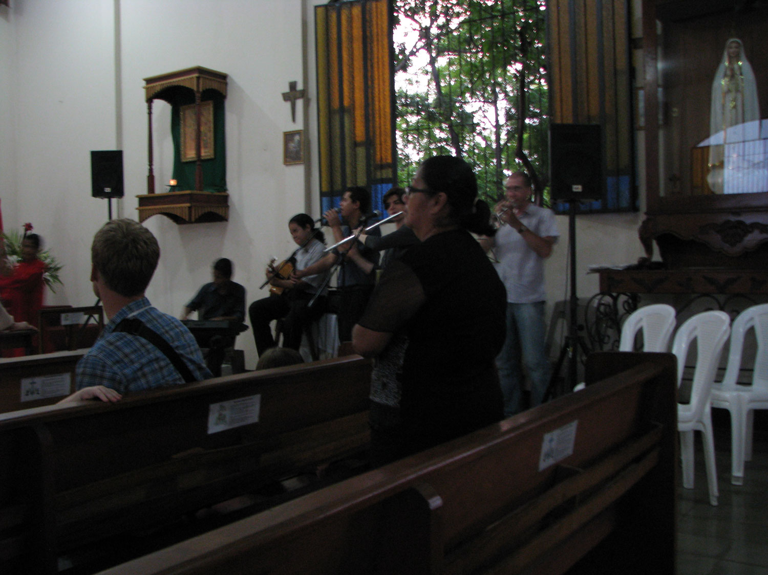 Andrew and Emma in the band along with Leo (third from left) and his two brothers