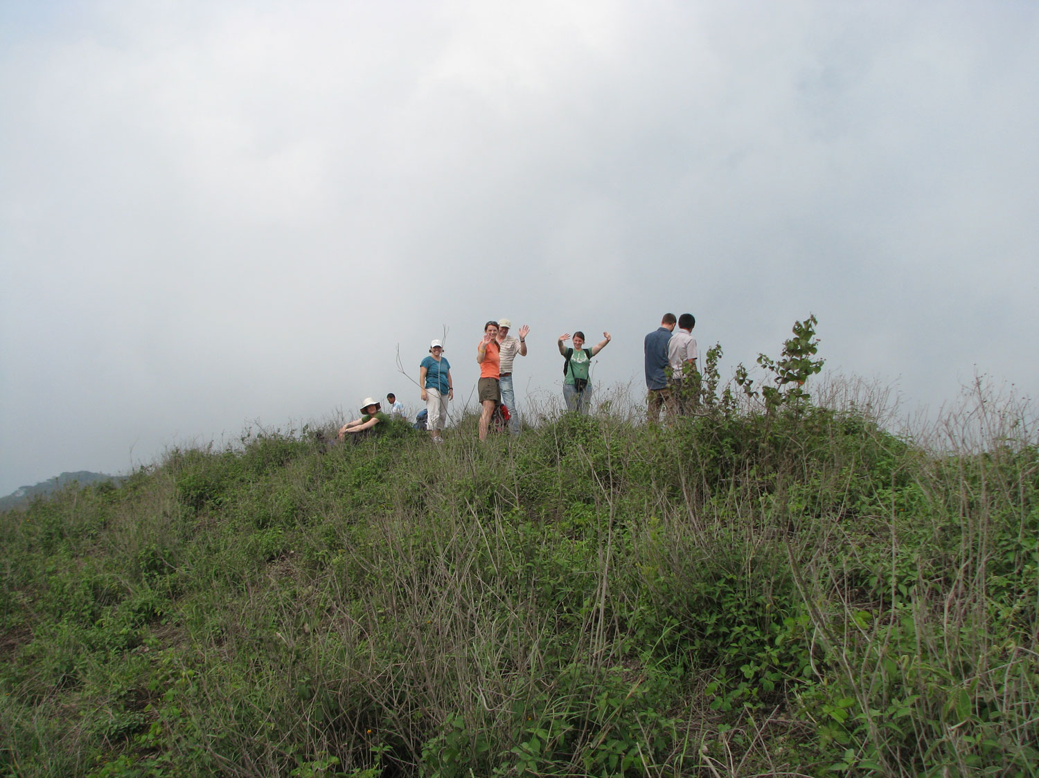 Our group reaching the summit of the El Ojochal hillside