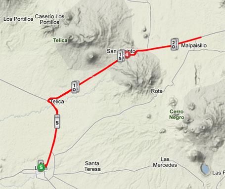 My route between the volcanoes