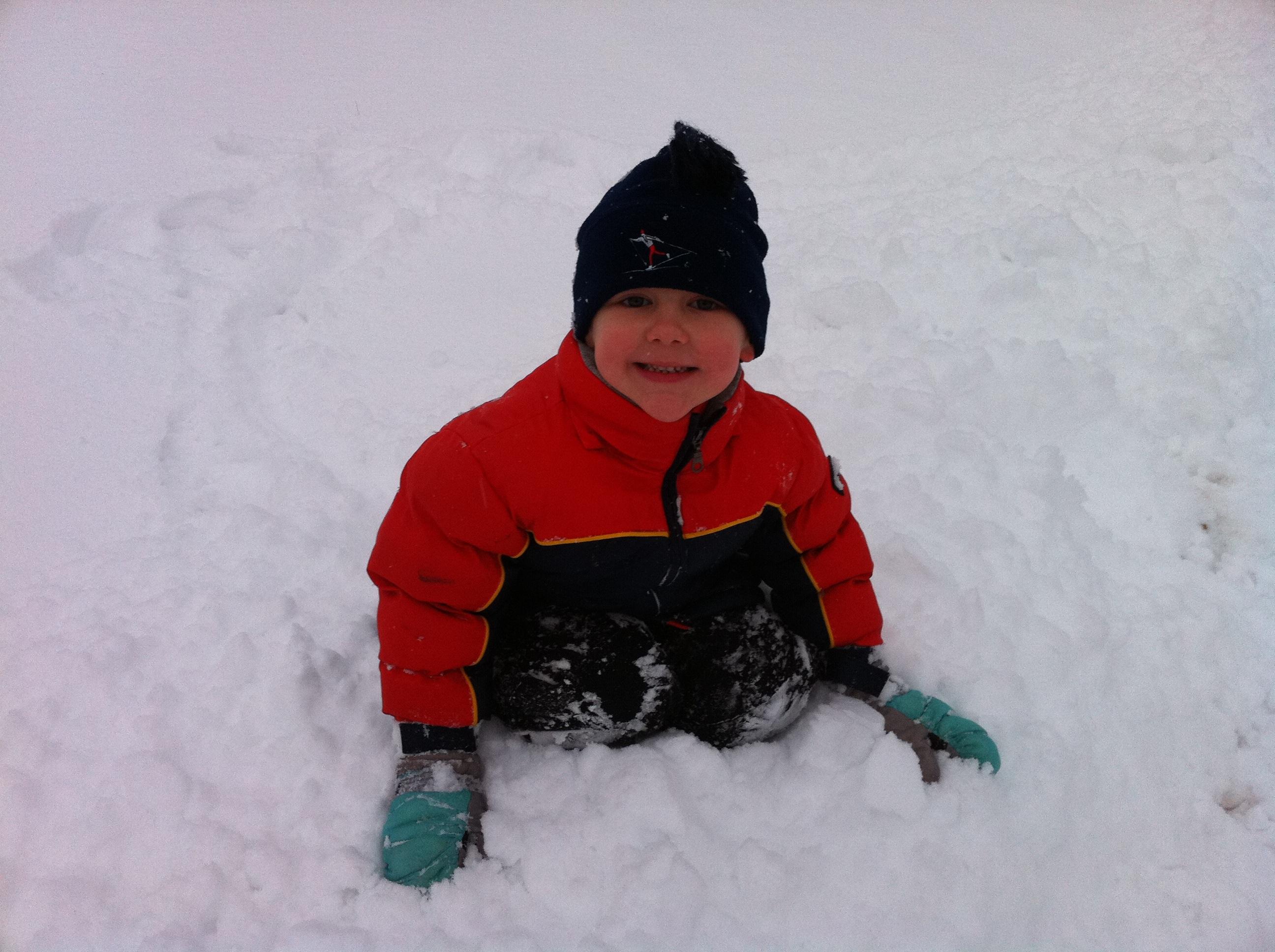 Josiah burrowing into the snow