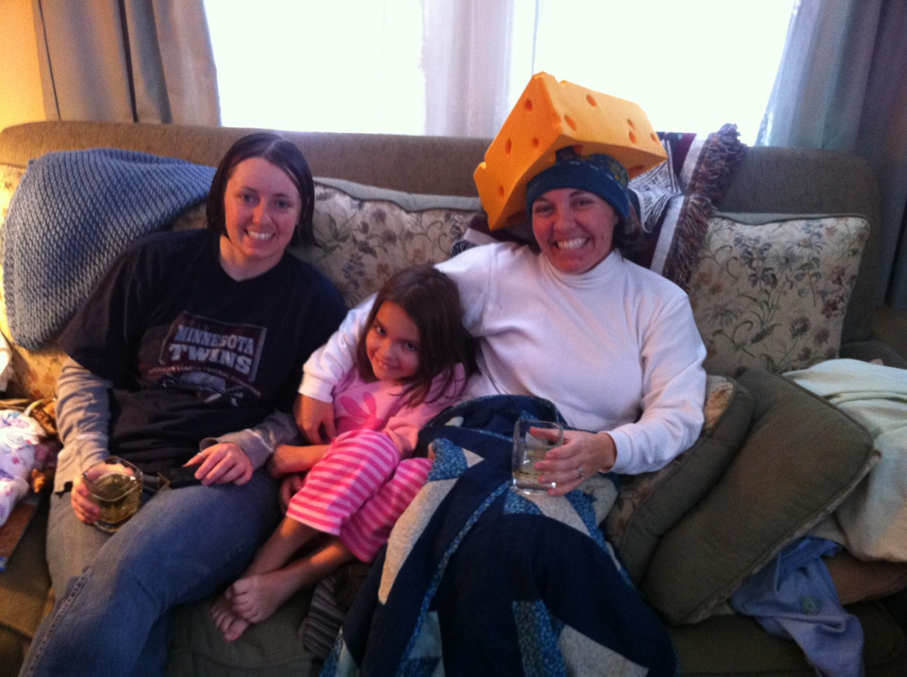 Aunt Kat, Analise, and Kristine watching the packers game