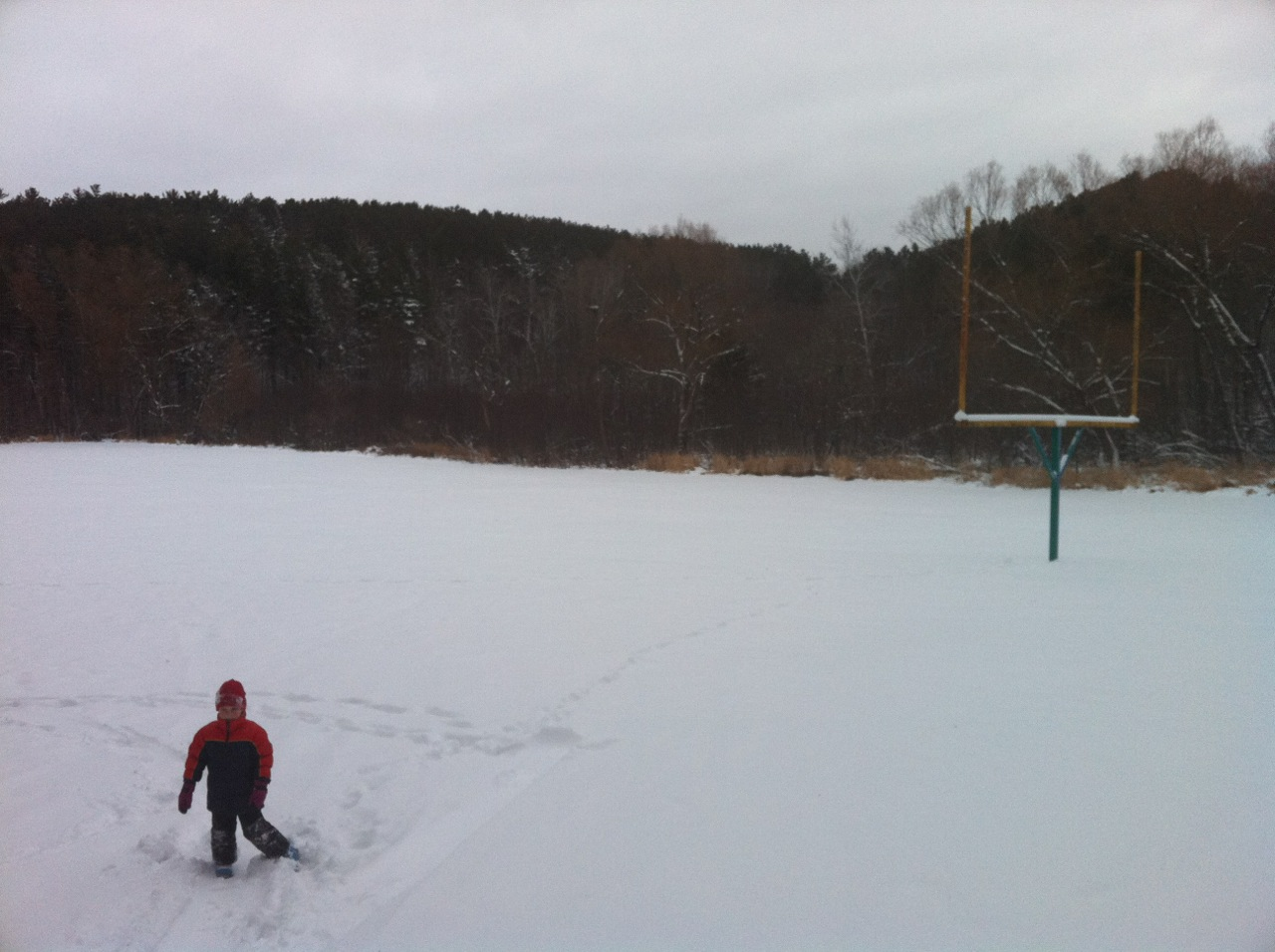 At the very bottom of the sledding hill is the old football field